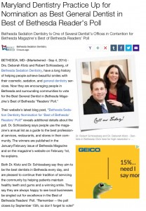 Bethesda Sedation Dentistry up for Nomination as Best General Dentist in Best of Bethesda Magazine Readers' Poll